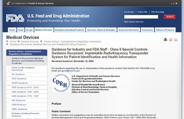 http://www.fda.gov/MedicalDevices/DeviceRegulationandGuidance/GuidanceDocuments/ucm072141.htm