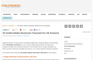 http://pelfusion.com/35-useful-adobe-illustrator-tutorials-for-3d-artwork/