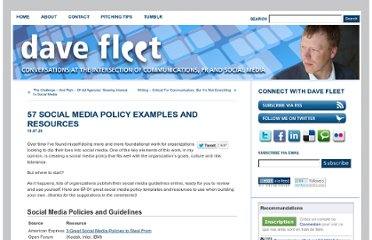 http://davefleet.com/2010/07/57-social-media-policy-examples-resources/