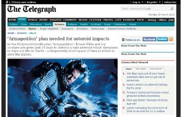 http://www.telegraph.co.uk/science/space/9746266/Armageddon-plan-needed-for-asteroid-impacts.html