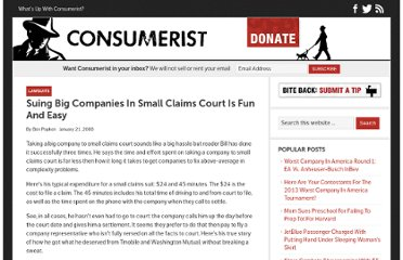 http://consumerist.com/2008/01/21/suing-big-companies-in-small-claims-court-is-fun-and-easy/
