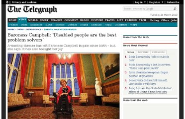 http://www.telegraph.co.uk/news/newstopics/british-volunteer-awards/9732203/Baroness-Campbell-Disabled-people-are-the-best-problem-solvers.html