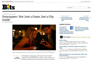 http://bits.blogs.nytimes.com/2009/10/18/foursquare-not-just-a-game-but-a-city-guide/