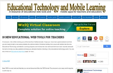 http://www.educatorstechnology.com/2012/12/10-new-educational-web-tools-for.html