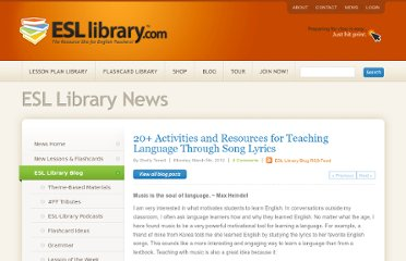 http://www.esl-library.com/blog/2012/03/05/20-tips-language-through-song-lyrics/