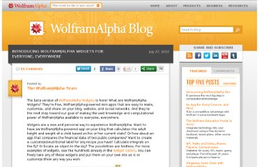 http://blog.wolframalpha.com/2010/07/27/introducing-wolframalpha-widgets-for-everyone-everywhere/