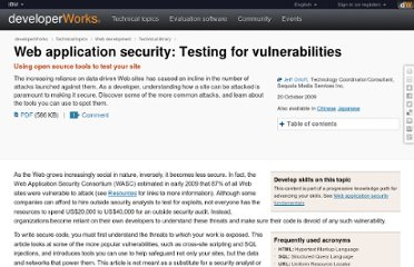 http://www.ibm.com/developerworks/web/library/wa-appsecurity/index.html?ca=dgr-twtrChkAppSecuritydth-WD