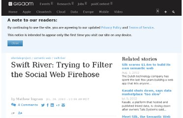 http://gigaom.com/2010/07/26/swift-river-trying-to-filter-the-social-web-firehose/