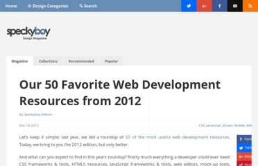http://speckyboy.com/2012/12/18/50-web-development-resources-from-2012/