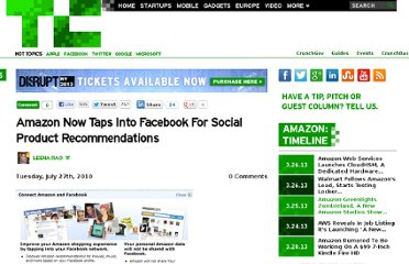http://techcrunch.com/2010/07/27/amazon-now-taps-into-facebook-for-social-product-recommendations/