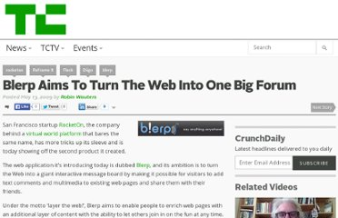 http://techcrunch.com/2009/05/13/blerp-aims-to-turn-the-web-into-one-big-forum/