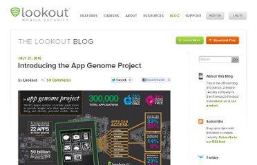 http://blog.mylookout.com/2010/07/introducing-the-app-genome-project/