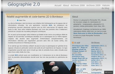 http://geographie2point0.wordpress.com/2010/07/28/realite-augmentee-et-code-barres-2d-a-bordeaux/