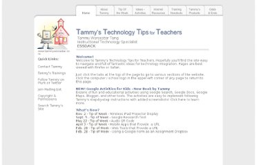 http://www.tammyworcester.com/Tips/Tammys_Technology_Tips_for_Teachers.html