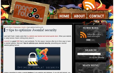 http://www.marcofolio.net/joomla/7_tips_to_optimize_joomla_security.html