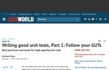 http://www.javaworld.com/javaworld/jw-03-2009/jw-03-good-unit-tests-1.html