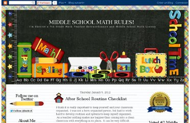 http://7thgrademathteacherextraordinaire.blogspot.com/2012/01/after-school-routine-checklist.html