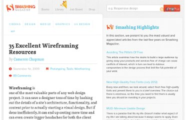 http://www.smashingmagazine.com/2009/09/01/35-excellent-wireframing-resources/