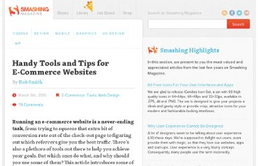 http://www.smashingmagazine.com/2010/03/06/23-tools-and-tips-for-any-ecommerce-website/