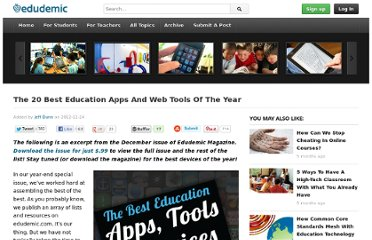 http://edudemic.com/2012/12/the-20-best-education-apps-and-web-tools-of-the-year/