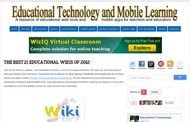 http://www.educatorstechnology.com/2012/12/the-best-21-educational-wikis-of-2012.html