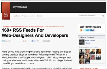 http://spyrestudios.com/160-rss-feeds-for-web-designers-and-developers/