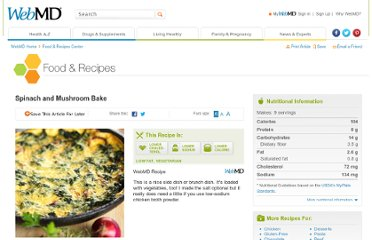 http://www.webmd.com/food-recipes/spinach-mushroom-bake-recipe