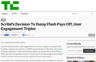 http://techcrunch.com/2010/06/19/scribds-decision-to-dump-flash-pays-off-user-engagement-triples/