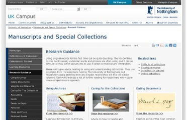 http://www.nottingham.ac.uk/ManuscriptsandSpecialCollections/ResearchGuidance/Introduction.aspx
