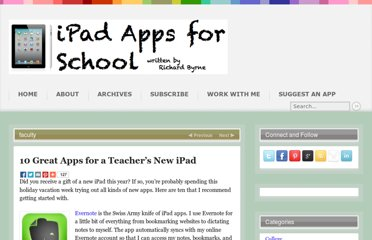 http://ipadapps4school.com/2012/12/26/10-great-apps-for-a-teachers-new-ipad/