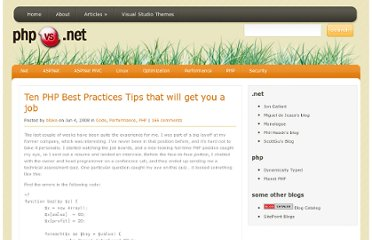 http://www.phpvs.net/2008/06/04/ten-php-best-practices-tips-that-will-get-you-a-job/
