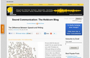http://soundcommunication.holdcom.com/bid/92640/The-Difference-Between-Speech-and-Writing