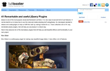 http://www.tuttoaster.com/41-remarkable-and-useful-jquery-plugins/