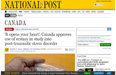 http://news.nationalpost.com/2012/12/28/canada-approves-use-of-ecstasy-in-study-into-post-traumatic-stress-disorder/