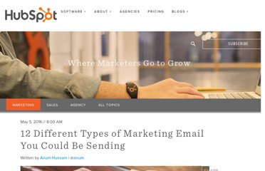 http://blog.hubspot.com/blog/tabid/6307/bid/33987/11-Types-of-Marketing-Emails-You-Could-Be-Sending-Free-Templates.aspx