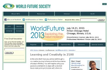 http://www.wfs.org/worldfuture-2013/worldfuture-conference-sectors/learning-and-creativity-2100