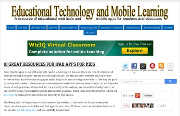http://www.educatorstechnology.com/2012/12/10-great-resources-for-ipad-apps-for.html