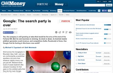 http://tech.fortune.cnn.com/2010/07/29/google-the-search-party-is-over/