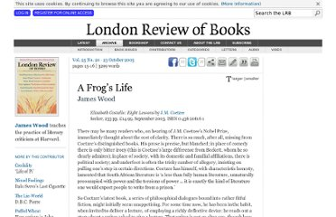 http://www.lrb.co.uk/v25/n20/james-wood/a-frogs-life