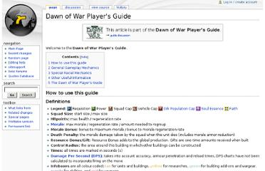 http://wiki.reliccommunity.com/Dawn_of_War_Player%27s_Guide