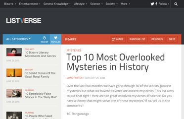 http://listverse.com/2008/02/25/top-10-most-overlooked-mysteries-in-history/