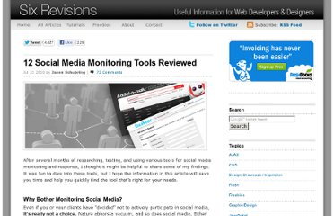 http://sixrevisions.com/tools/12-social-media-monitoring-tools-reviewed/