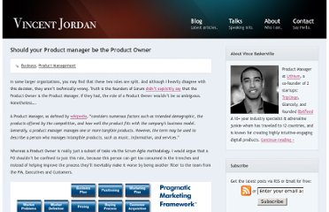 http://vincentjordan.com/2012/12/should-your-product-manager-be-the-product-owner/