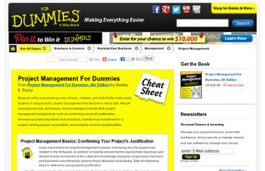 http://www.dummies.com/how-to/content/project-management-for-dummies-cheat-sheet.html