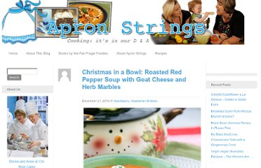 http://www.apronstringsblog.com/roasted-red-pepper-soup-with-goat-cheese-marbles/