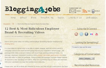 http://www.blogging4jobs.com/hr/12-best-recruiting-videos/