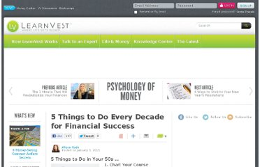 http://www.learnvest.com/2013/01/5-things-to-do-every-decade-for-financial-success/4/