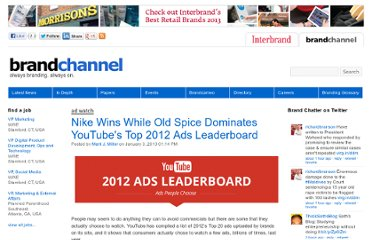 http://www.brandchannel.com/home/post/2013/01/03/YouTube-2012-Ads-Leaderboard-010312.aspx
