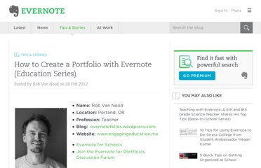 http://blog.evernote.com/blog/2012/02/28/how-to-create-a-portfolio-with-evernote-education-series/