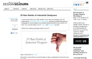 http://www.designsojourn.com/25-bad-habits-of-industrial-designers/